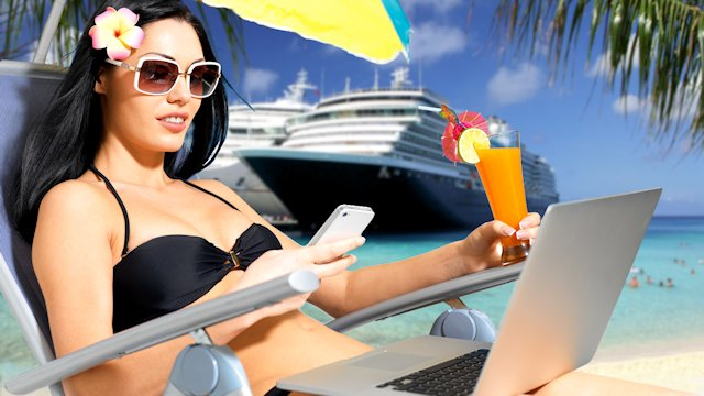 girl-on-beach-with-cruiseship